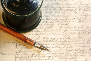 bigstockphoto_Old-fashioned_nib_pen_and_inkw_725593